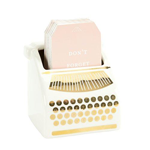 C.R. Gibson Dispensador de Tarjetas motivacionales para máquina de Escribir Blanca y Dorada, 51 Unidades, 3.5 Pulgadas de Ancho x 3.5...