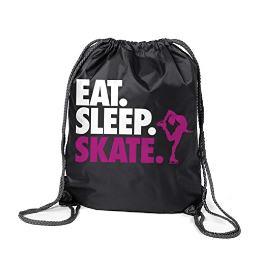ChalkTalkSPORTS Figure Skating Sport Pack Cinch Sack | Eat Sleep Skate | Black
