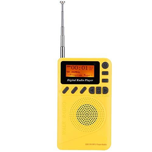 Lazmin112 Radio Dab + FM, Mini Receptor estéreo Digital de Bolsillo, Radio Digital, Pantalla de 1,44 Pulgadas, Lector de Soporte/Reproductor MP3 / Reloj en Tiempo Real/Texto de Radio/Tarjeta TF
