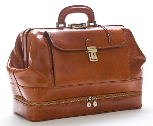 D&D Doctor's Bag - Borsa medico in classica pelle vitello tamponata a mano, prodotta esclusivamente in Italia 41X16Xh29 cm (Miele)