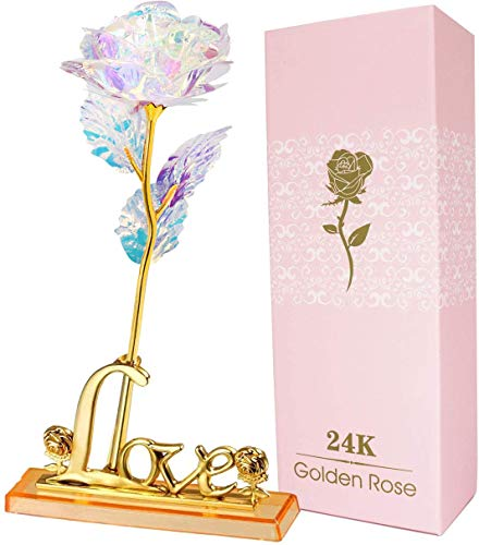 AUSAYE 24K Galaxy Rose Forever Rose Artificial Flowers Unique Gifts for...