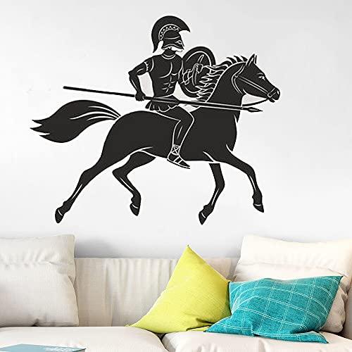 Antigua Grecia griego espartano Guerrero caballo soldado Caballero lanza vinilo pared pegatina coche calcomanía dormitorio sala de estar gimnasio Club decoración del hogar Mural
