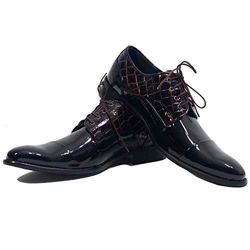Modello Buvry - Cuero Italiano Hecho A Mano Hombre Piel Color Negro Zapatos Vestir Oxfords - Cuero Charol - Encaje
