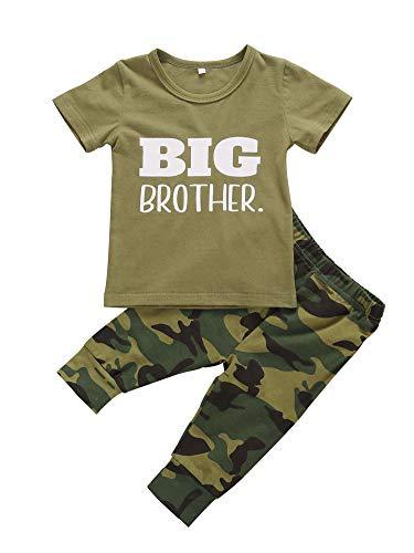 Geagodelia Conjunto de ropa para bebé, niña, pelele, body de manga corta y pantalones, conjunto de verano para bebés de 0 a 12 meses Camiseta Big Brother. 3-4 Años