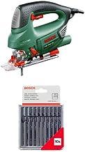 Bosch PST 900 PEL - Sierra de calar, SDS, función de soplado, maletín, profundidad de corte 90 mm, 620 W + Pack de 10 cuchillas de sierra caladora