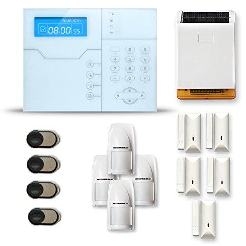 Alarme Maison sans Fil SHB 4 à 5 pièces Mouvement + Intrusion + sirène extérieure Solaire - Compatible Box Internet et GSM