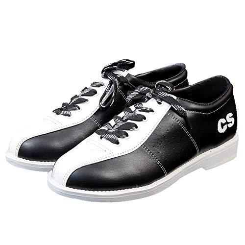 JJK Zapatos De Bolos para Hombre, Zapatos De Cuencos De Cuero Antideslizantes Zapatillas De Bolos con Cordones para Damas Jóvenes Niños Niños Y Niñas Mujeres,Blanco,43