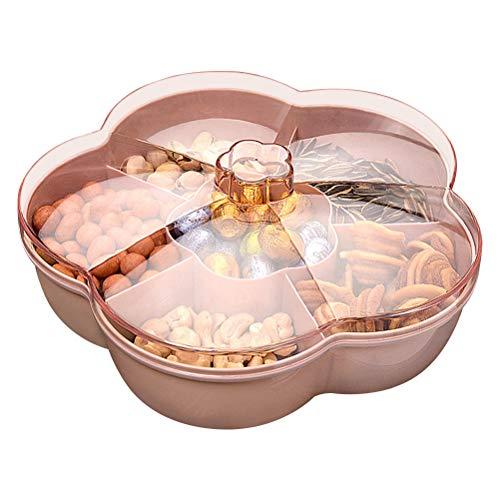 BOQIAN Caja de almacenamiento de plástico para aperitivos, forma de flor, caja de almacenamiento para caramelos, caja de almacenamiento de aperitivos con tapa para caja organizadora de frutas secas