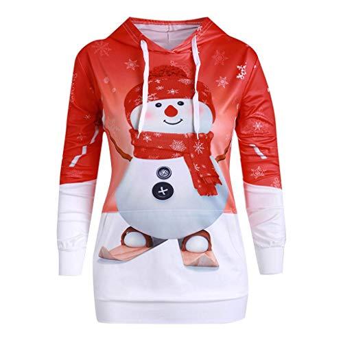 Btruely Weihnachtskleid Damen Sweatshirt Christmas Kleider Langarmshirt Xmas Elch Gedruckt Kleid A-Line Swing Kleid Abendkleid Partykleid Großen Dress Mini Kleid Tunic (XL, Rot)