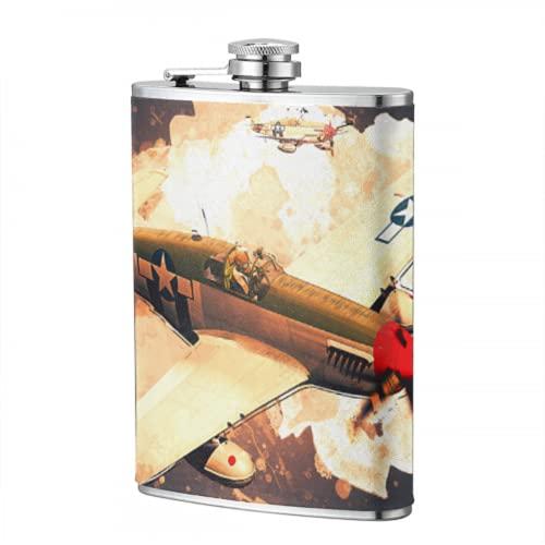 Frasco de Camping de 8 oz modelo 3d de avión en vuelo, frasco personalizado, frasco para hombres y mujeres, frasco para viajes, senderismo, Camping