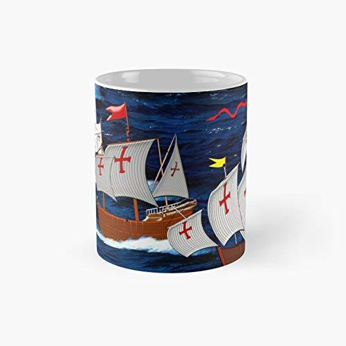 Taza clásica de Nina Pinta y Santa María Christopher Colon Ships 1492, el mejor regalo divertido tazas de café de 325 ml