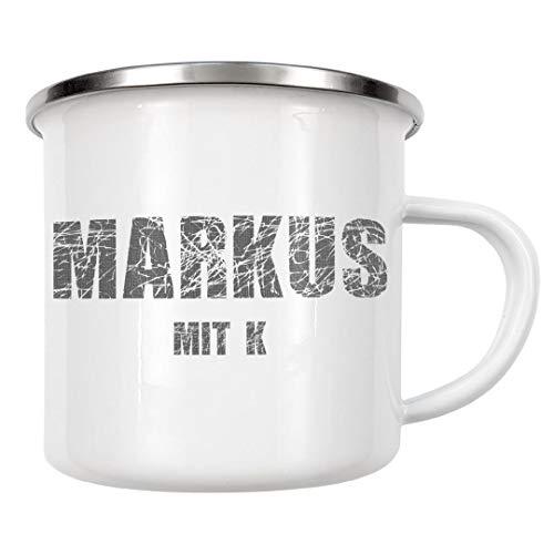 artboxONE Emaille Tasse Markus mit K von Max Bauer - Emaille Becher Typografie