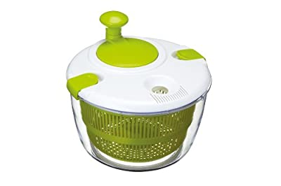 KitchenCraft KCSALSPIN Deluxe Salad Spinner and Dresser in Gift Box, BPA Free Plastic, Large (25 cm), White/Green