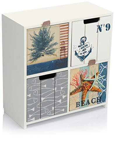 com-four® Comò Mini con 4 cassetti - armadi in Legno dal Design Marittimo - Mini Armadio per riporre Gioielli, Cosmetici e Piccoli Oggetti (1 Pezzo - 22x10x23,5-4 cassetti)