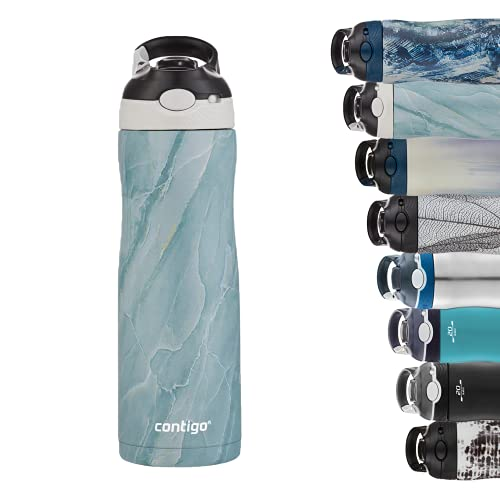 Contigo Ashland Chill botella de acero inoxidable con pajilla, 100 % hermética, frío durante 24 horas, con aislamiento, botella térmica para deportes, ciclismo, senderismo, 590 ml