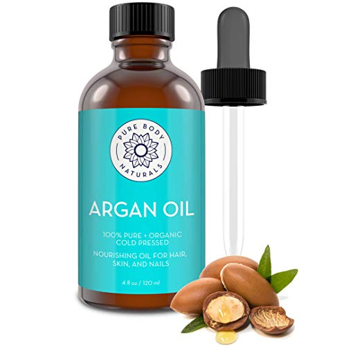Pure Body Naturals Organic Argan Oil for Skin, Face, Hair & Nails, 4 Fluid Ounces