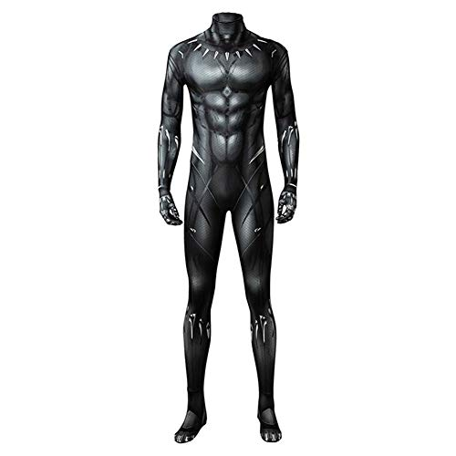 Adult Kids Black Muscle Battle Suit Costume Halloween Cosplay Costume Black Zentai Jumpsuit (Adult 3XL, Adult)