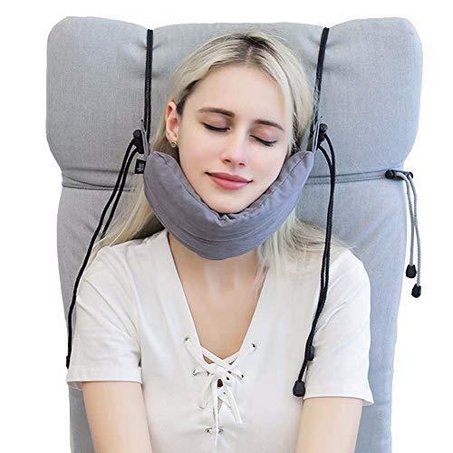 HSTD Seat Nacken Headrest Pillow, Kopf- Und Kinnstütze, Für Kinder Erwachsene Zum Nickerchen Auf Couch/Auto/Flugzeug/Zug Reise Mit Memory-Schaum Einstellbar, Einfach Installieren Und Entfernen Gray