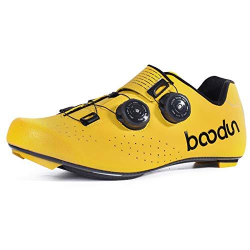 Zapatilla De Ciclismo, Calzado De Bicicleta De Carretera para Hombre con Suela De Carbono Antideslizantes Transpirables para Carretera Y Montaña