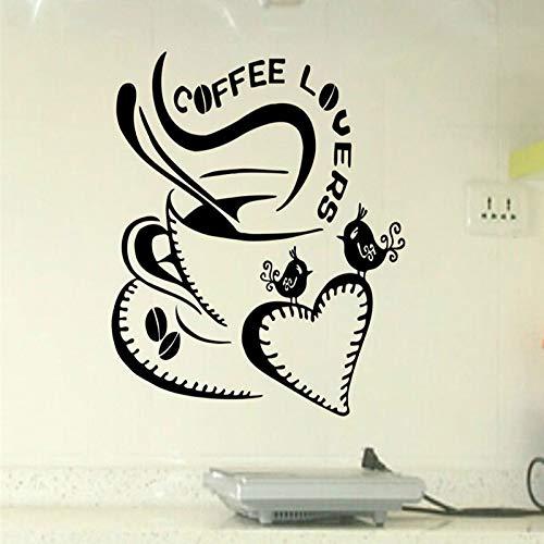 guijiumai Herz Kaffeetasse Große Liebe Entfernbare Wandaufkleber für Mode Wohnzimmer Kindergarten Kinder Küche Vinyl Aufkleber Murals57X61CM