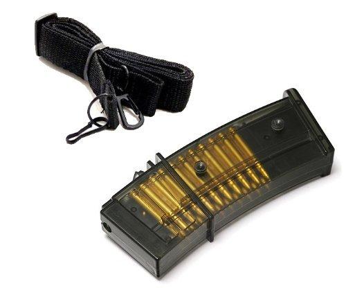 Nerd Clear Softair-Gewehr Ersatz-Magazin für G36C G36 M85 mechanisch mit Tragegurt schwarz ab 14 Jahre