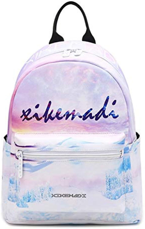 QWKZH Ruckscke damen Fashion 3D Printing Backpack Schoolbag for Teenage Girls Travel Bag PU Mini Flamingo Bag