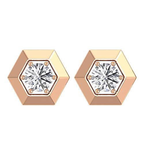 Juego de 6 pendientes de tuerca de diamante redondo certificado solitario de 0,13 quilates, oro grabado, diseño geométrico antiguo, pendientes de declaración de cumpleaños para madre