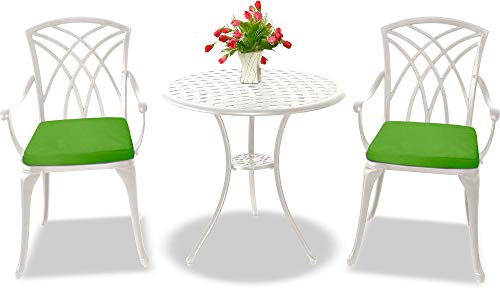 Centurion Supports OSHOWA Luxurious Garden & Patio Table & 2 Large Chairs with Armrests Cast Aluminium Bistro Set - White with Green Cushions