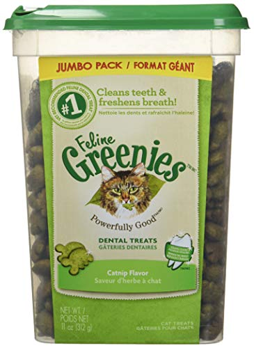 FELINE GREENIES Natural Dental Care Cat Treats Catnip Flavor, 11 oz. Tub