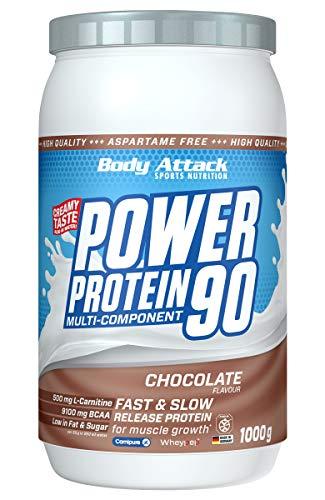 Body Attack Power Protein 90, 5K Eiweißpulver mit Whey-Protein, L-Carnitin und BCAA für Muskelaufbau und Fitness, Made in Germany (Chocolate Cream, 1 kg)