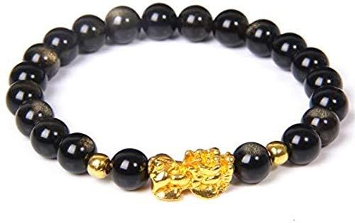 HYJMJJ Pulseras de Feng Shui Pulseras de Cuentas de obsidiana con Oro Pi Xiu/Pi Yao for Hombres de Las Mujeres Ajustable elástico Puede traer Buena Suerte