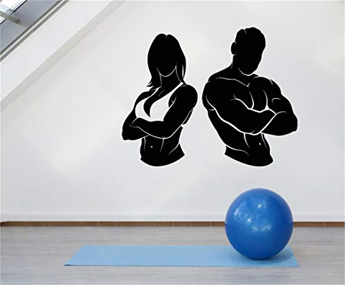 etiqueta de la pared pegatina de pared frases Gym Girl Guy Muscle Fitness Beautiful Body Stickers living room play room gym sport room