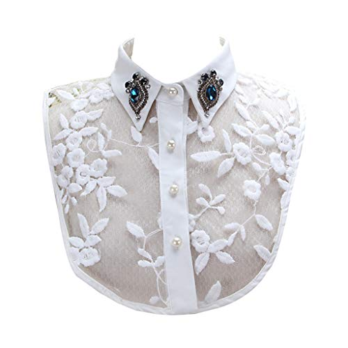 JOYKK Damen Faux Crystal Revers Abnehmbares Half-Shirt Imitation Pearls Lace Fake Collar - Weiß