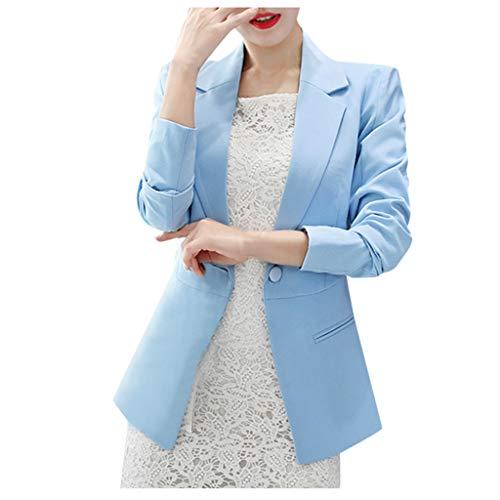 Damen Sakko Cardigan Elegant Blazer Leicht DüNn LäNgere Leichte Jacke Fließt Wunderbar Und Ist SchöN Leicht Locker Fallendes zu Jeans T-Shirt Aber Auch zur Edlen Anzughose Pumps (L, Hellblau)