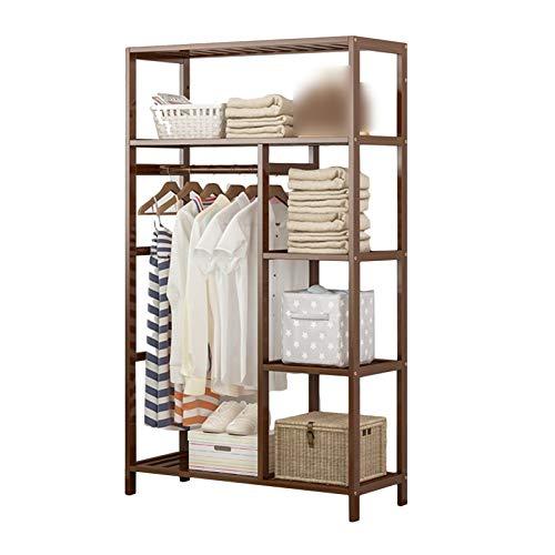 Clásico Soporte de soporte de soporte de perchero, soporte de perchero de madera, estante de madera, estante de 6 niveles, soporte de carga fuerte, estiércol de vestimenta de entrada de vestimenta de