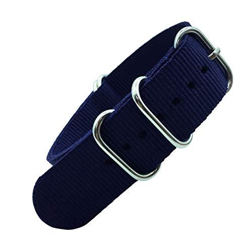 Liberación rápida Correa Colorida Arco Iris 18mm 20 mm 22mm 24mm Military Strap Strap Tela Tela de Nylon Cinturón Hebilla Correa de Hombre (Band Color : Blue, Band Width : 18mm)