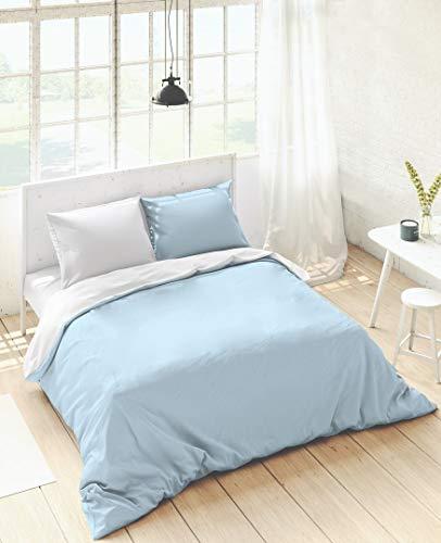 NATURALS Housse de couette bicolore réversible bleu mer/blanc pour lit 200