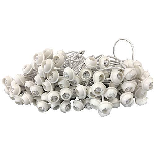 DEGAMO Spanngummi für Zeltplanen mit Kugel, Expanderschlinge, 200 Stück, weiß