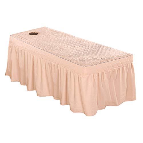 B Blesiya Auflage Betttuch Bettvolant Bettrock Tischrock Gesichtloch für Massageliege - Jade Pink