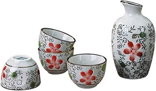 Juego de Sake de Estilo japonés Juego de Sake japonés Juego de Sake de Copa de Vino Artesanal de cerámica Tradicional Juego de Sake japonés, A