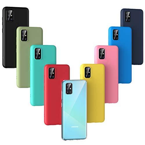 Oududianzi - 9X Hülle für Samsung Galaxy A51 (2020), [Regenbogen-Serie] Weich Matte Hülle TPU-Silikon Handyhülle [ Transparent + Schwarz + Pink + Dunkelblau + Rot + Minzgrün + Gelb + Grün + Blau ]