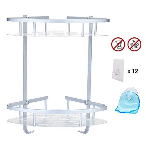 Get It Safe Mensola Angolare Doccia Bagno + Porta Lametta-2ªGENERAZIONE No Foratura Adesivo Muro-Lega Alluminio