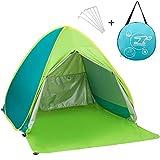 Tienda de campaña familiar con puerta con cremallera / refugio para playa, jardín, ir de pesca... Con protección anti UV y montaje automático, Mix- Green