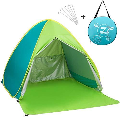 Neue Portable mit Reißverschluss Tür Pop Up Beach Zelt Outdoor Anti UV-Strand Zelt Sonne Shelter, automatische Instant Familie Cabana für Camping Strand Angeln Garten, Mix- Green