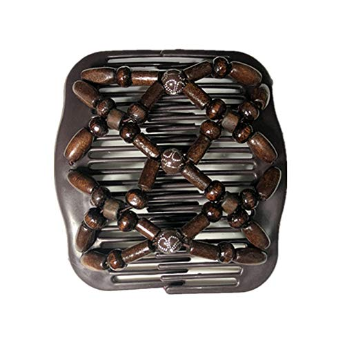 Lovef Women Magic Hair Combs Wood Beaded Stretch Double Side Combs Clips Bun Maker Hair Accessories (Bead Coffee)