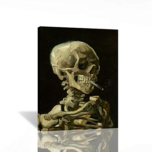 Pangoo Art Wall Decor Skeleton by Vincent Van Gogh Painting - Van Gogh Skull Poster Print Wall Decor with Framed for Home Decoration Ready to Hang Home 12' x 16'