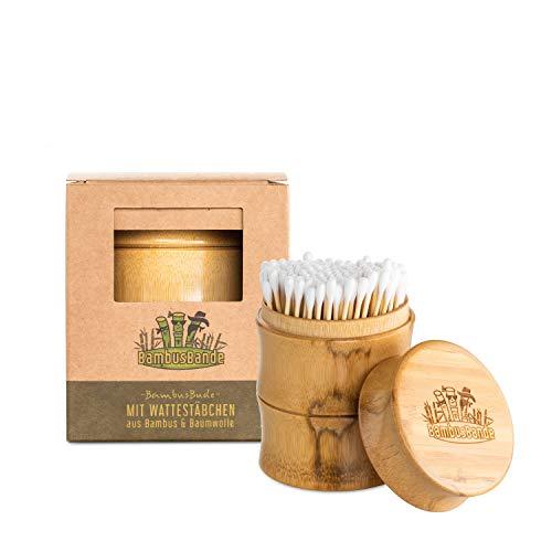 BambusBande - Wattestäbchen Spender aus natürlichem Bambusrohr + 200 Wattestäbchen aus Bambus & Baumwolle, Nachhaltige Alternative zu Holz & Plastik, Umweltfreundliche Ohrenstäbchen