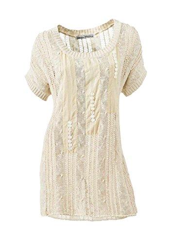 Ashley Brooke Damen-Pullover Ajourpullover Beige Größe 36