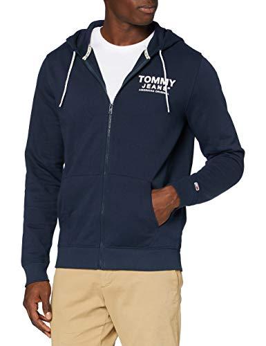 Tommy Jeans TJM Essential Graphic Zipthrough Suéter, Azul (Twilight Navy), L Hombre