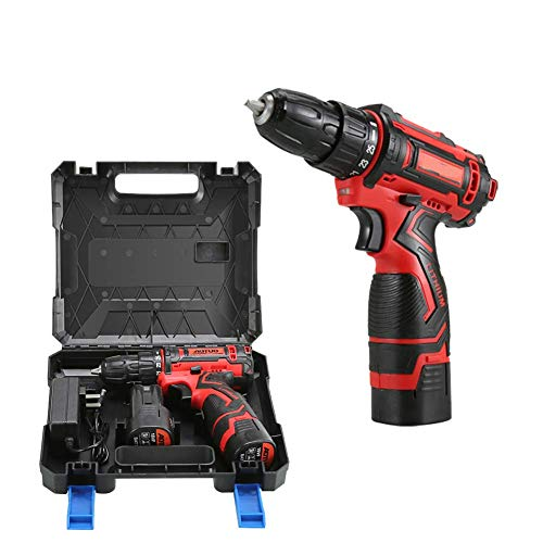 Portable Cordless Combi Drill, 36V Rechargeable Drill Multi-Function Household Tool Set Multi-Function Hand Electric Drill Set 25 Gear Torque Changes,12v JIAJIAFUDR (Color : 18v)